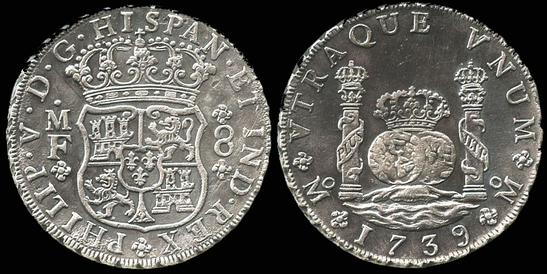 foto de MEXICO 1739 8 REALES KING CHARLES III PILLAR DOLLAR - Pirate Gold ...
